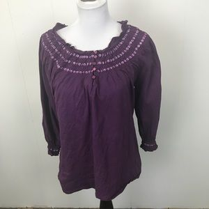 Purple Embroidered Top by Cynthia Rowley